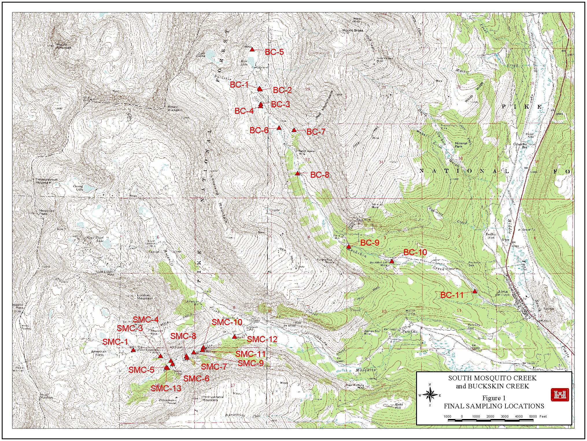 South Mosquito Creek and Buckskin Creek Map