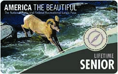Image of the front of the America the Beautiful Senior Pass - Lifetime