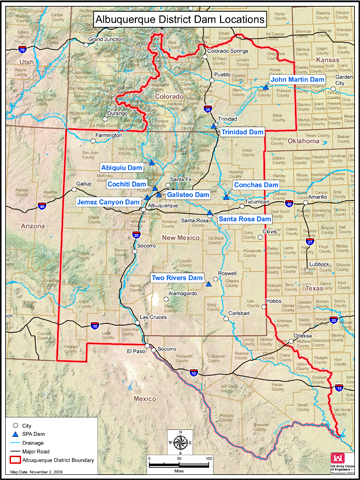 Map showing the locations of the District's dams