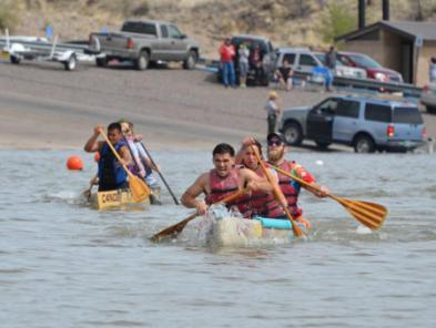Teams race concrete canoes at Cochiti Lake April 11, 2015