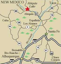 map showing directions to Abiquiu Lake, N.M.