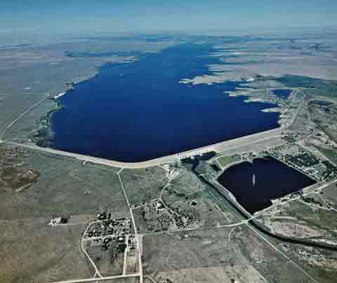Aerial view of John Martin Dam and Reservoir