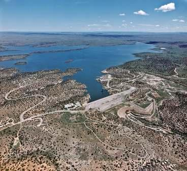 Aerial view of Santa Rosa Dam and Lake