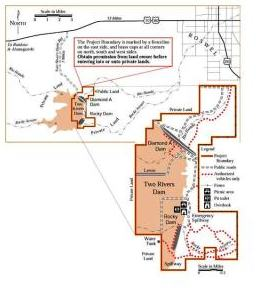 Map of Two Rivers Dam, NM