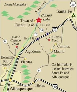 Map showing directions to Cochiti Lake, Jemez Canyon Dam and Galisteo Dam, all in NM