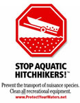 Stop Aquatic Hitchhikers! Graphic of boat coming out of lake
